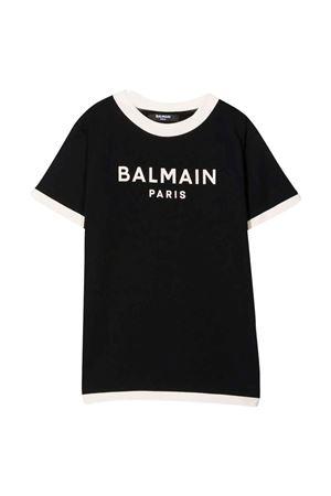 unisex black t-shirt  BALMAIN KIDS | 8 | 6P8551Z0003930BG