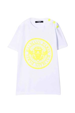 unisex white t-shirt  BALMAIN KIDS | 8 | 6P8651Z0003100GL