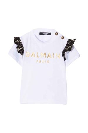 unisex white t-shirt  BALMAIN KIDS | 8 | 6P8891J0006100OR
