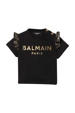 unisex black t-shirt  BALMAIN KIDS | 8 | 6P8891J0006930OR