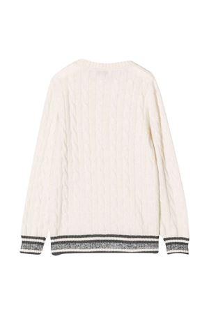 Maglione bianco teen con dettagli nero e argento Brunello Cucinelli Kids   7   B22M72300CJ415T