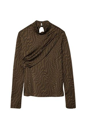 Brown top with characteristic FF Vertigo motif.  FENDI KIDS | 40 | JFI240AG1OF118W