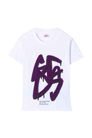 T-shirt bianca con stampa viola teen GCDS KIDS | 8 | 028447001T
