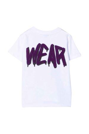 T-shirt bianca con stampa viola GCDS KIDS | 8 | 028447001