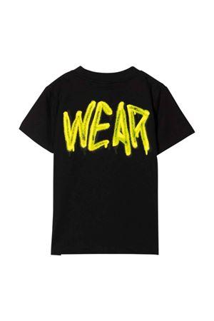 T-shirt nera con stampa gialla teen GCDS KIDS | 8 | 028447110T