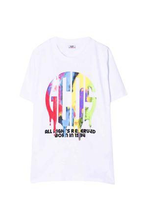 T-shirt bianca con stampa multicolor GCDS KIDS | 8 | 028455001