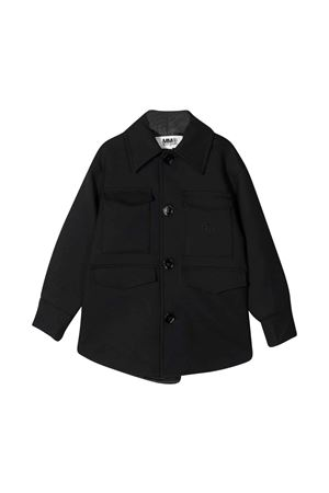Black shirt-jacket teen with embroidered logo. MM6 KIDS | 5032334 | M60009MM030M6900T