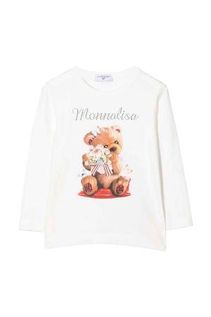 White t-shirt with frontal print Monnalisa kids   8   118610SI82010001