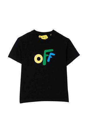 T-shirt nera con stampa multicolor off-white kids | 8 | OBAA002F21JER0021084