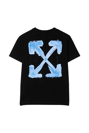 T-shirt nera con stampa azzurra off-white kids | 8 | OBAA002F21JER0071040