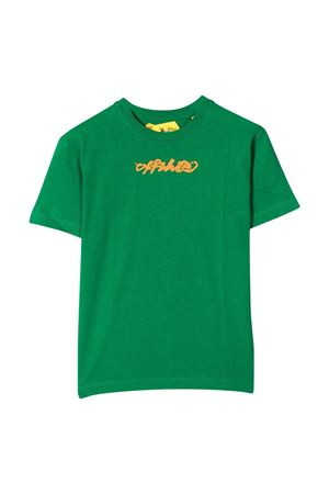 T-shirt verde con stampa arancione off-white kids | 8 | OBAA002F21JER0075520