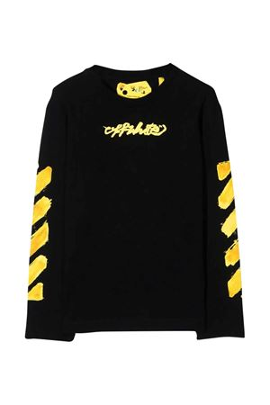 Shirt nera con stampa gialla off-white kids | 8 | OBAB001F21JER0061018