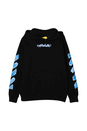 Black sweatshirt with hood and light blue print off-white kids | -108764232 | OBBB001F21FLE0041040