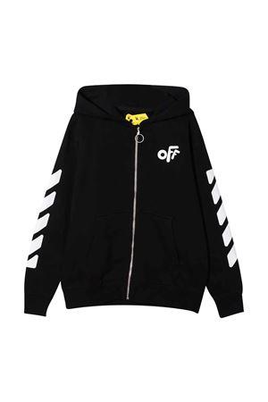 Black sweatshirt with hood and white print off-white kids | -108764232 | OBBE001F21FLE0011001