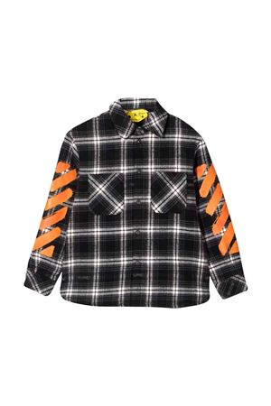 Sshirt with white and black checked print off-white kids | 5032334 | OBGA001F21FAB0031020