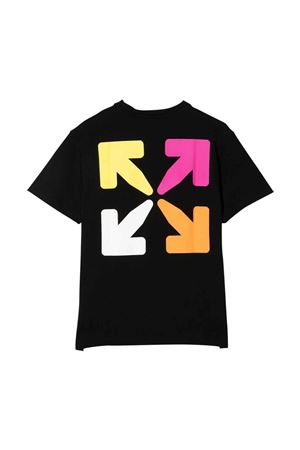 T-shirt nera con stampa multicolor off-white kids | 8 | OGAA001F21JER0021084