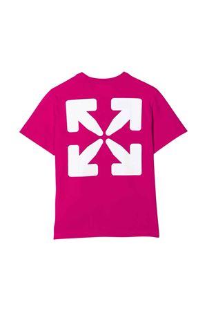 T-shirt fucsia con stampa nera off-white kids | 8 | OGAA001F21JER0033210