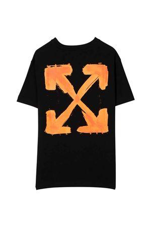 T-shirt nera con stampa arancione off-white kids | 8 | OGAA001F21JER0081020