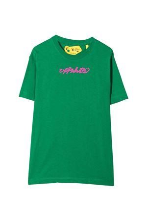 T-shirt verde con stampa off-white kids | 8 | OGAA001F21JER0085532