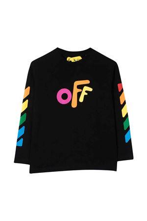 T-shirt nera con stampa multicolor off-white kids | 8 | OGAB001F21JER0011084