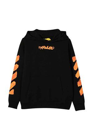 Felpa nera con cappuccio e stampa arancione off-white kids   -108764232   OGBB002F21FLE0041020
