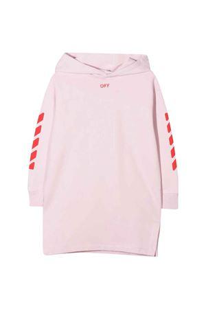 Abito rosa con cappuccio e stampa rossa off-white kids   11   OGDB002F21FLE0013025