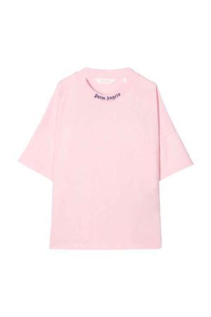 T-shirt rosa con stampa blu PALM ANGELS KIDS | 8 | PGAA001F21JER0013046