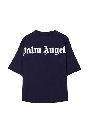 T-shirt blu con stampa bianca PALM ANGELS KIDS | 8 | PGAA001F21JER0014601