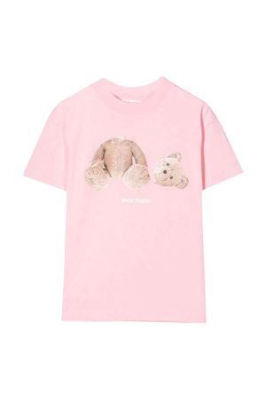 T-shirt rosa con stampa PALM ANGELS KIDS | 8 | PGAA002F21JER0013060