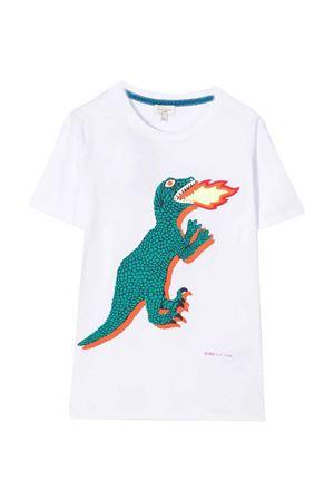 T-shirt teen bianca con stampa multicolor PAUL SMITH JUNIOR | 8 | P2522110PT