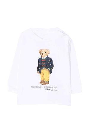 T-shirt bianca maniche lunghe con stampa RALPH LAUREN KIDS | 8 | 320852014003