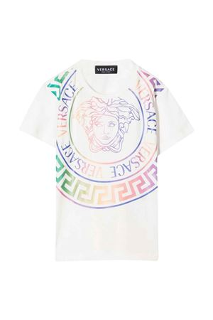 White t-shirt with multicolor print VERSACE   8   10000521A014202W070