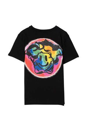 T-shirt nera con stampa multicolor e logo VERSACE | 8 | 10000521A018746B710