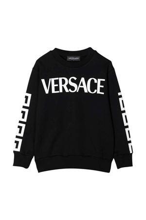 Black sweatshirt with Greca print and logo VERSACE | -108764232 | 10001321A013222B020