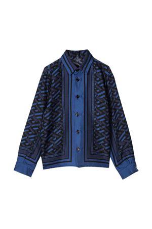 Camicia blu con stampa posteriore VERSACE | 5032334 | 10003331A016135U180