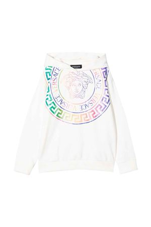 White sweatshirt with hood and multicolor print VERSACE | -108764232 | 10003521A013372W070