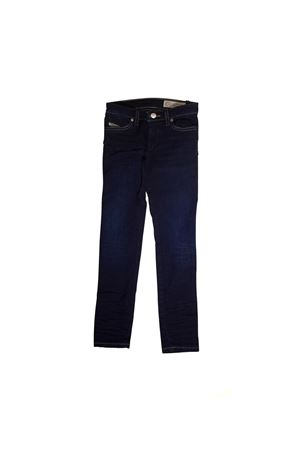DARK BLUE TEEN JEANS DIESEL KIDS WITH GOLDEN BACK APPLICATION DIESEL KIDS | 9 | 00J3S6KXA55K01T