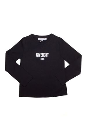 SHIRT NERA GIVENCHY KIDS CON LOGO BIANCO FRONTALE Givenchy Kids | 8 | H1506709B