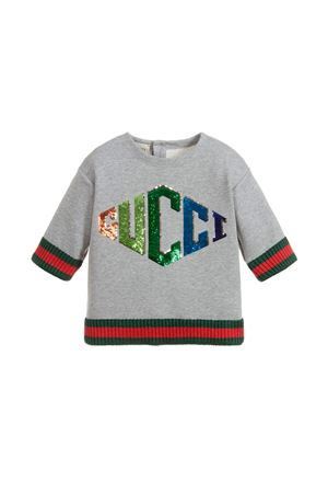 GIRL GRAY SWEATSHIRT WITH MULTICOLORED GUCCI KIDS LOGO GUCCI KIDS | -108764232 | 518558X9X011225