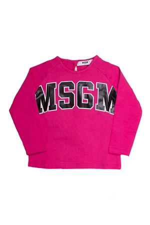 FUCSIA JERSEY BABY SHIRT MSGM KIDS WITH BLACK FRONTAL LOGO MSGM KIDS | 7 | 016327044
