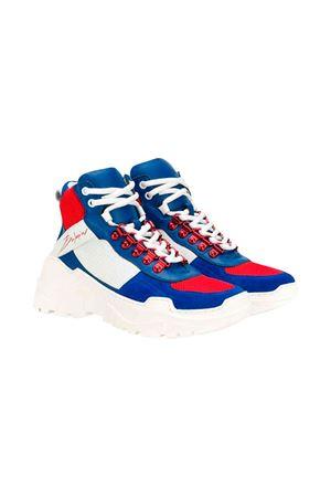 Balmain high-top kids teen white and blue sneakers  BALMAIN KIDS | 12 | 6L0526LX470620ROT