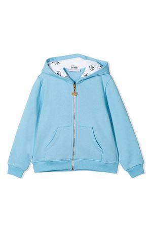 Felpa azzurra con cappuccio , zip e applicazione posteriore Chiara Ferragni kids CHIARA FERRAGNI KIDS | 5032280 | CFKF009CIELO