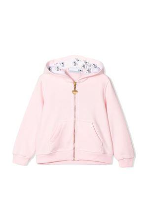 Felpa rosa con cappuccio , zip e applicazione posteriore Chiara Ferragni kids CHIARA FERRAGNI KIDS | 5032280 | CFKF009ROSA