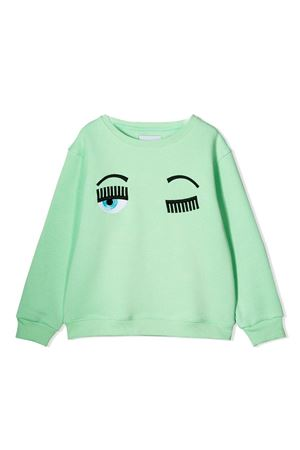 Felpa verde con stampa flirting Chiara Ferragni kids CHIARA FERRAGNI KIDS | -108764232 | CFKF014VERDE