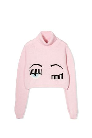 Maglione rosa collo alto con stampa flirting Chiara Ferragni kids CHIARA FERRAGNI KIDS   7   CFKJM001ROSA