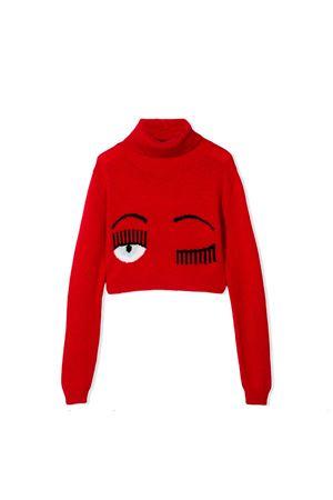 Maglione rosso collo alto con stampa flirting Chiara Ferragni kids CHIARA FERRAGNI KIDS | 7 | CFKJM001ROSSO