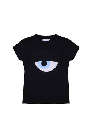 T-shirt teen nera con applicazione Chiara Ferragni kids CHIARA FERRAGNI KIDS | 8 | CFKT008NEROT
