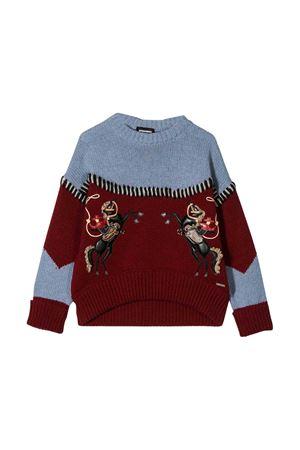 Maglione rosso e grigio Dsquared2 kids teen DSQUARED2 KIDS | 7 | DQ03MUD00W2DQ454T