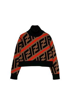 Brown turtleneck sweater Fendi kids  FENDI KIDS | 1034792055 | JFG051A8L7F0UZ4