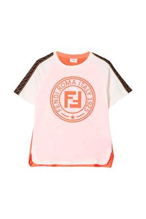 WHITE AND PINK SALMON T-SHIRT FENDI KIDS  FENDI KIDS | 8 | JFI1717AJF16WF